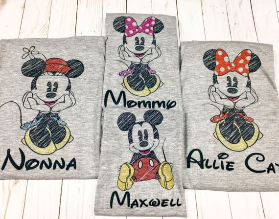 You can buy theMickey and Minnie Sketch Family Shirts here