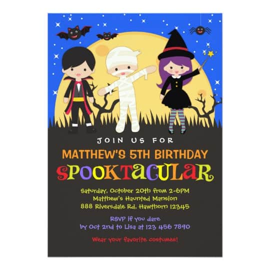 You can buy the Halloween Birthday Invitation here