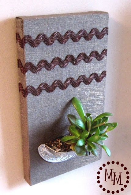 Turn an old drawer handle into a vertical succulent planter