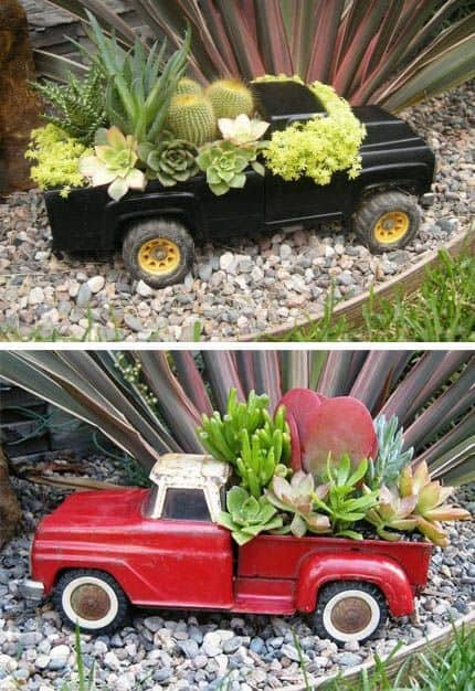 Repurpose a toy truck into a planter