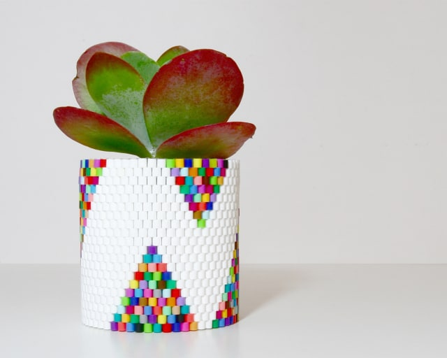 Weave a planter with Perler beads