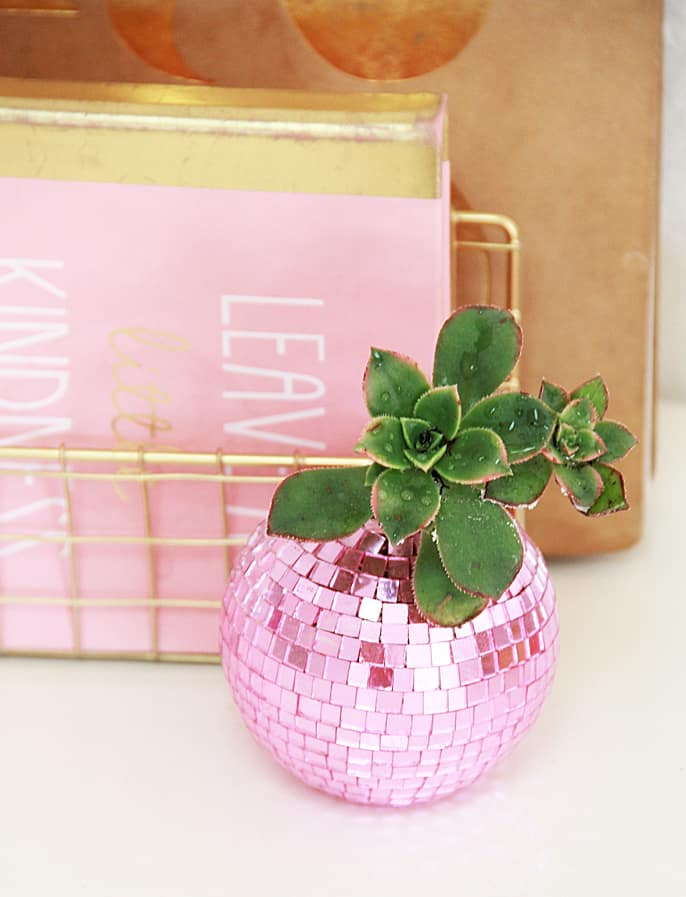 Make a sparkly disco ball planter