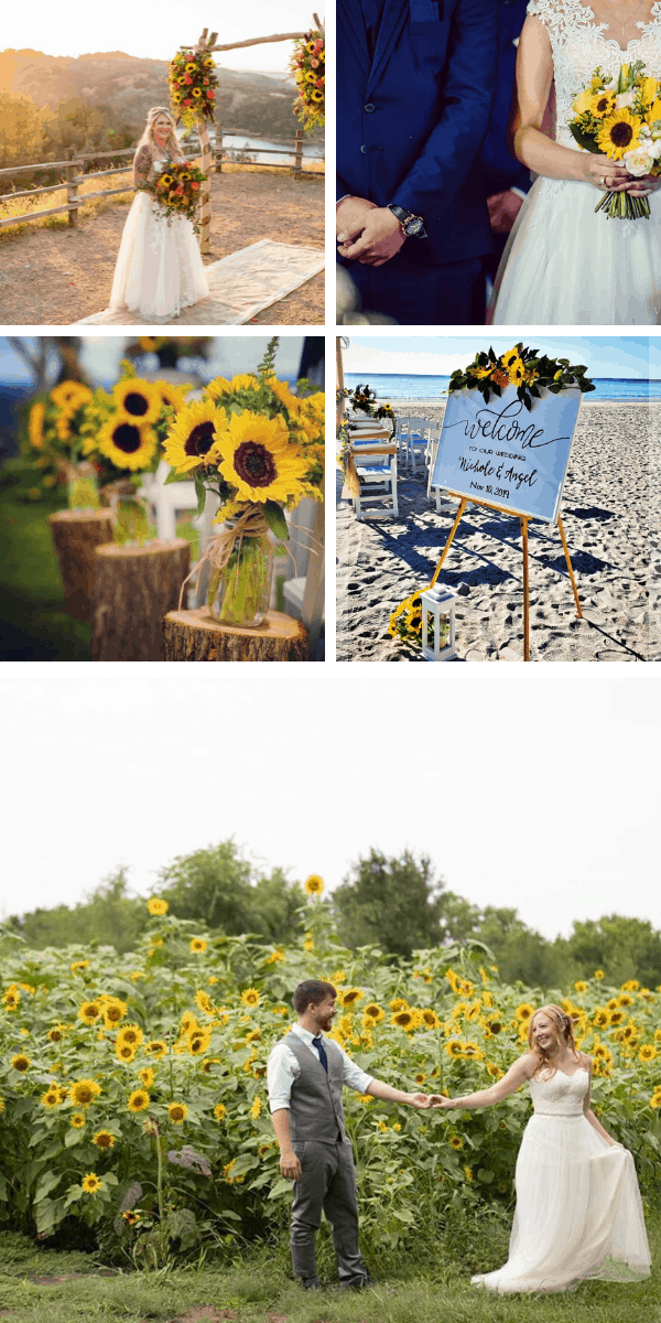 So many beautiful ways to incorporate sunflowers into your wedding day