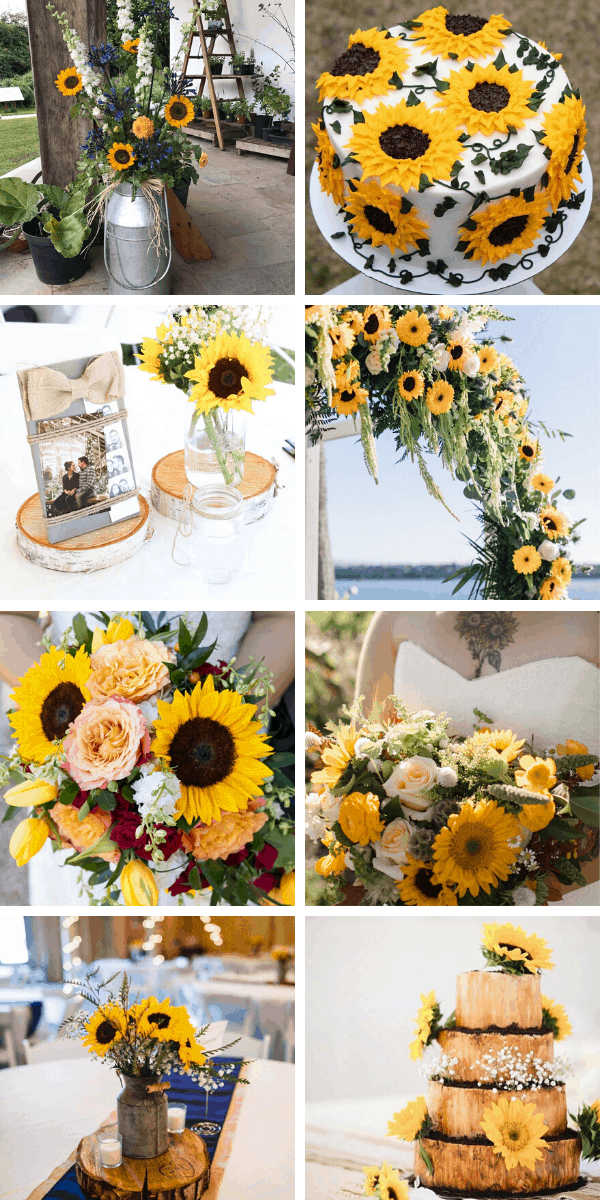 So many stunning sunflower wedding ideas whether you're going for a rustic feel or a destination beach wedding