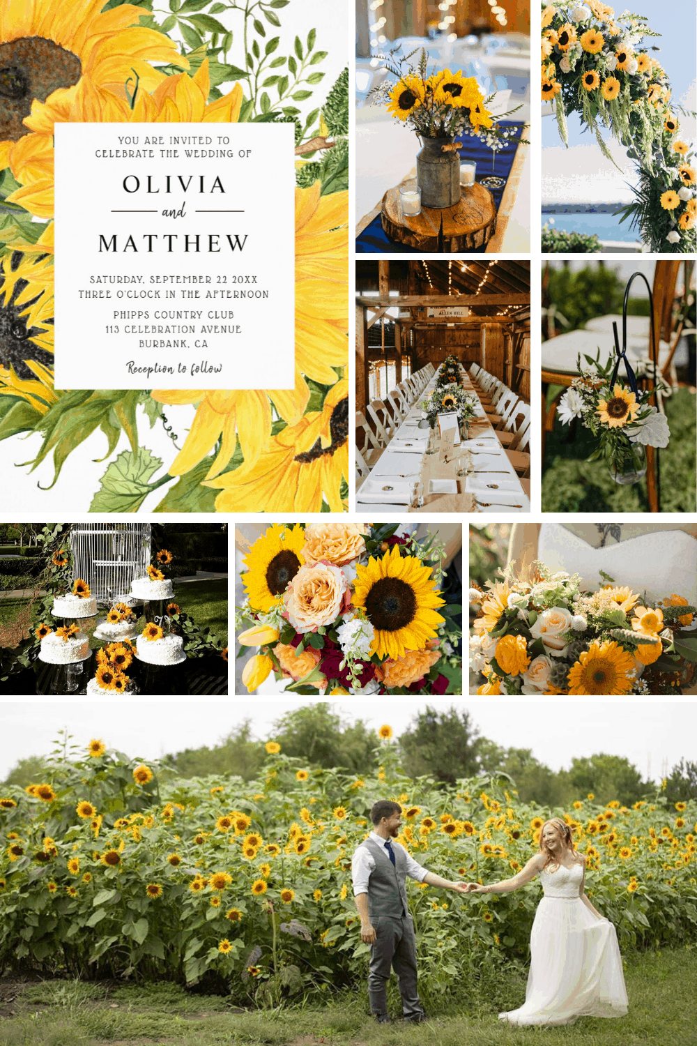 You can't fail to be inspired by all these gorgeous sunflower wedding ideas