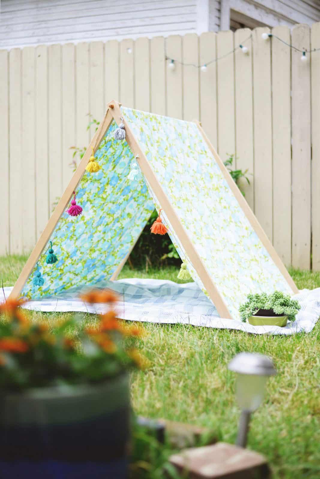 DIY Fold Up A Frame Tent with Tassels