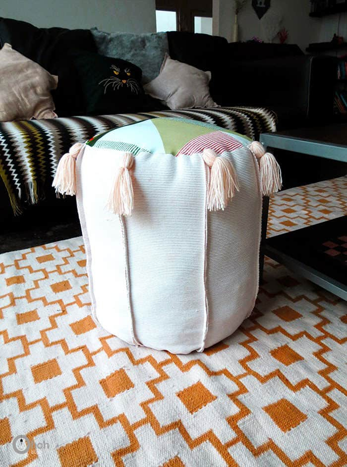 Tasseled Pouf with Upcycled Materials