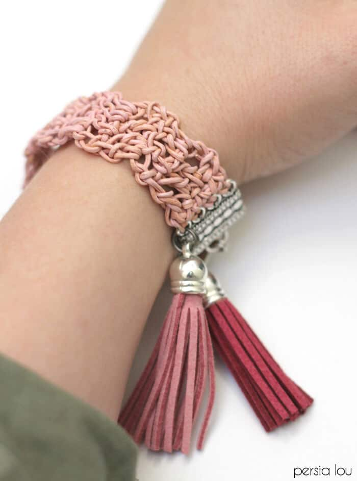 Crochet Leather Tassel Bracelet