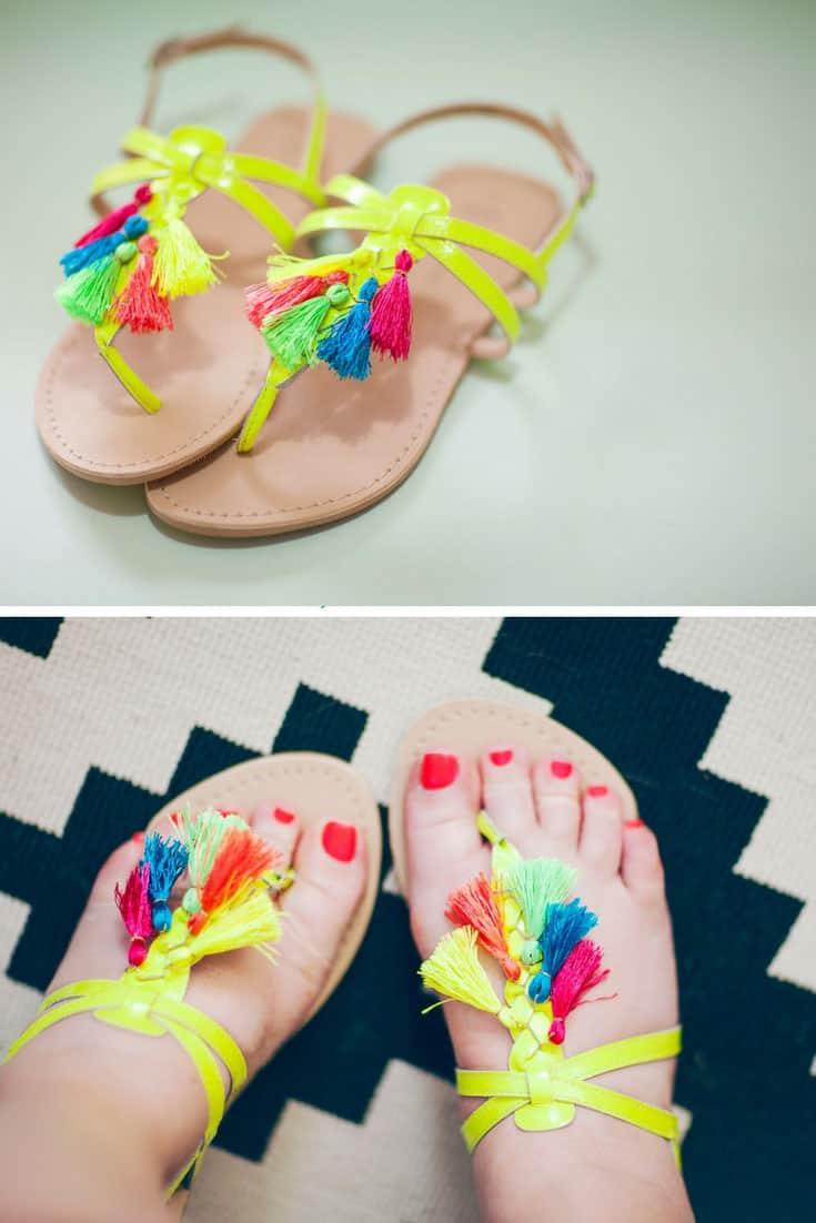 DIY Neon Tassel Sandals