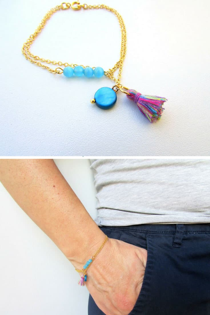 DIY Boho Tassel Beaded Bracelet