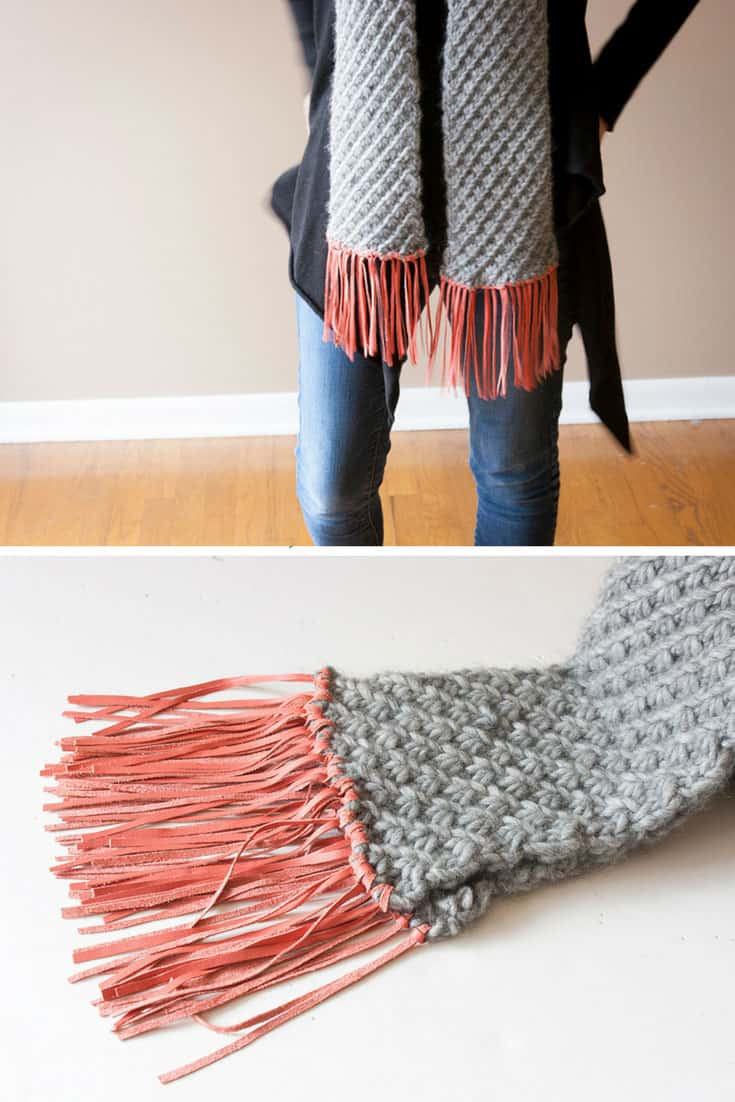 Leather Tassels Scarf