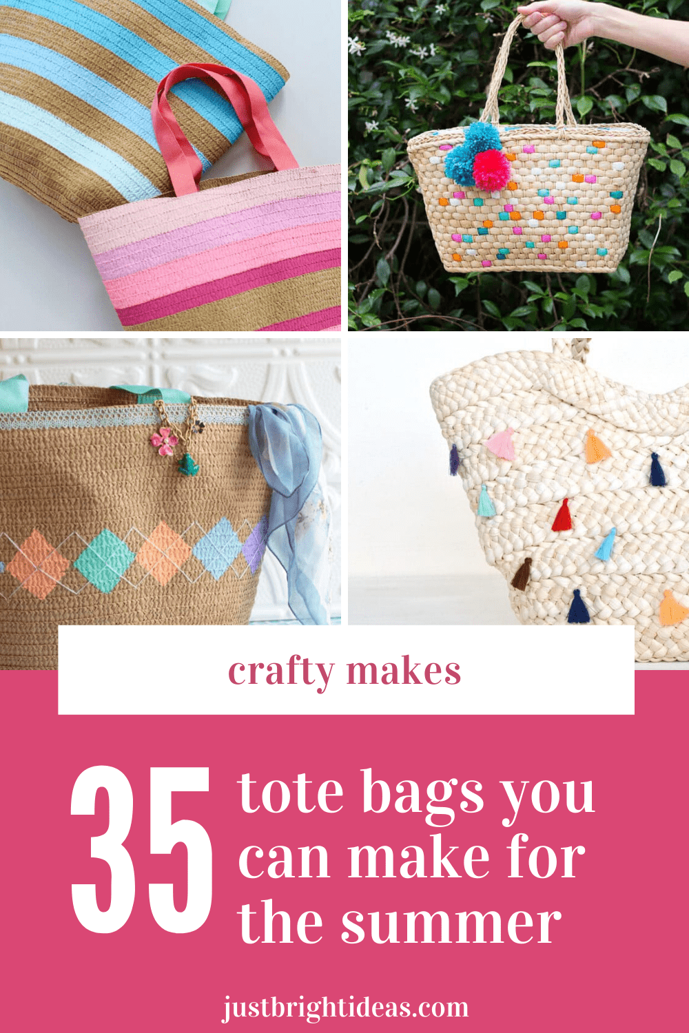 Check out these crafty makes - so many summery tote bags you can DIY at home