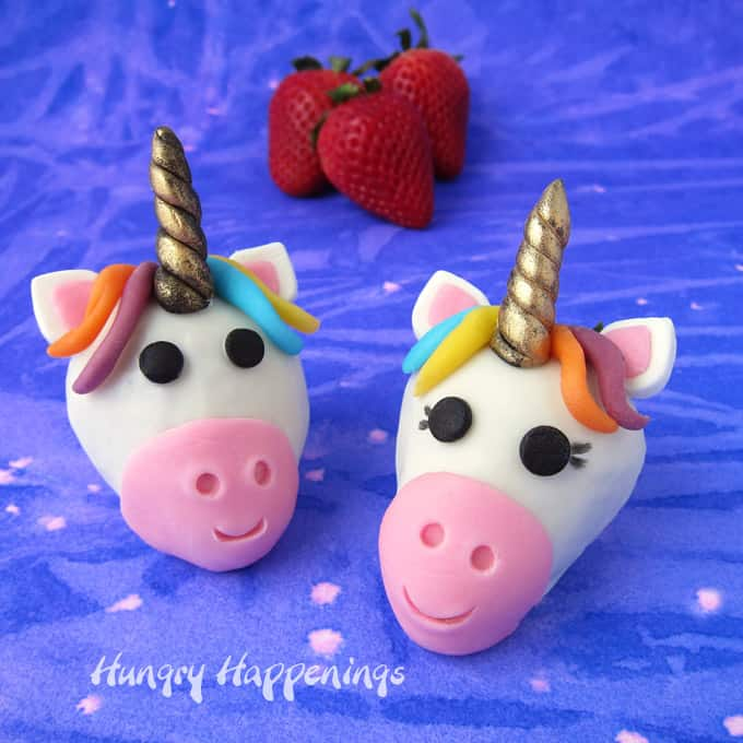 White Chocolate Dipped Strawberry Unicorns