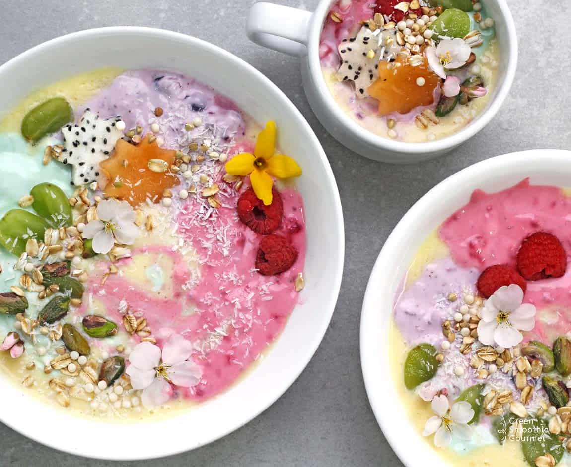 Rainbow Unicorn Protein Smoothie Bowls