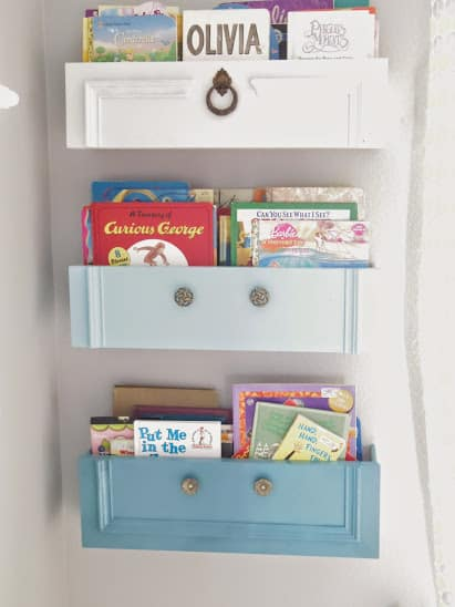 Repurpose your old drawers into book storage