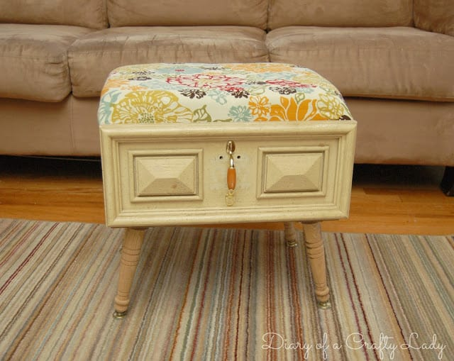 Make a stylish ottoman to match your decor from an old drawer
