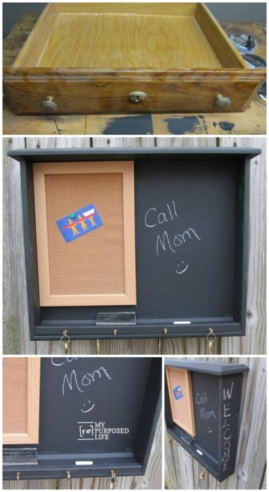 Repurpose that old drawer into a chalkboard message centre