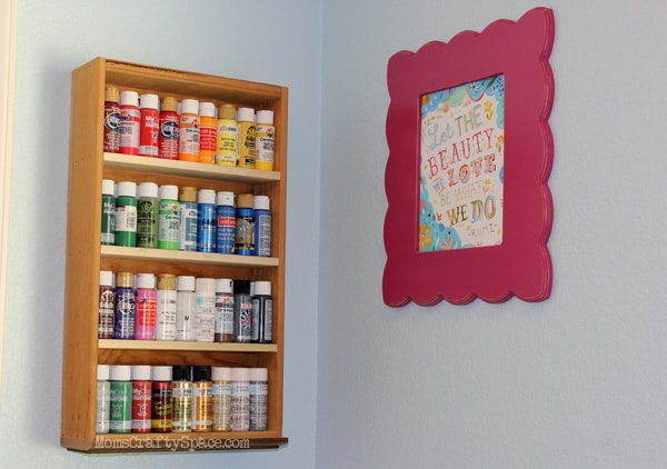 Repurpose a drawer into a storage shelf for paint or spices