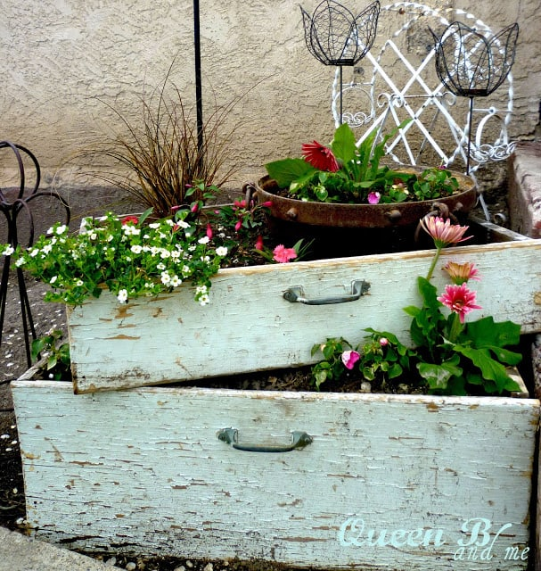 Take a drawer outside and turn it into a planter