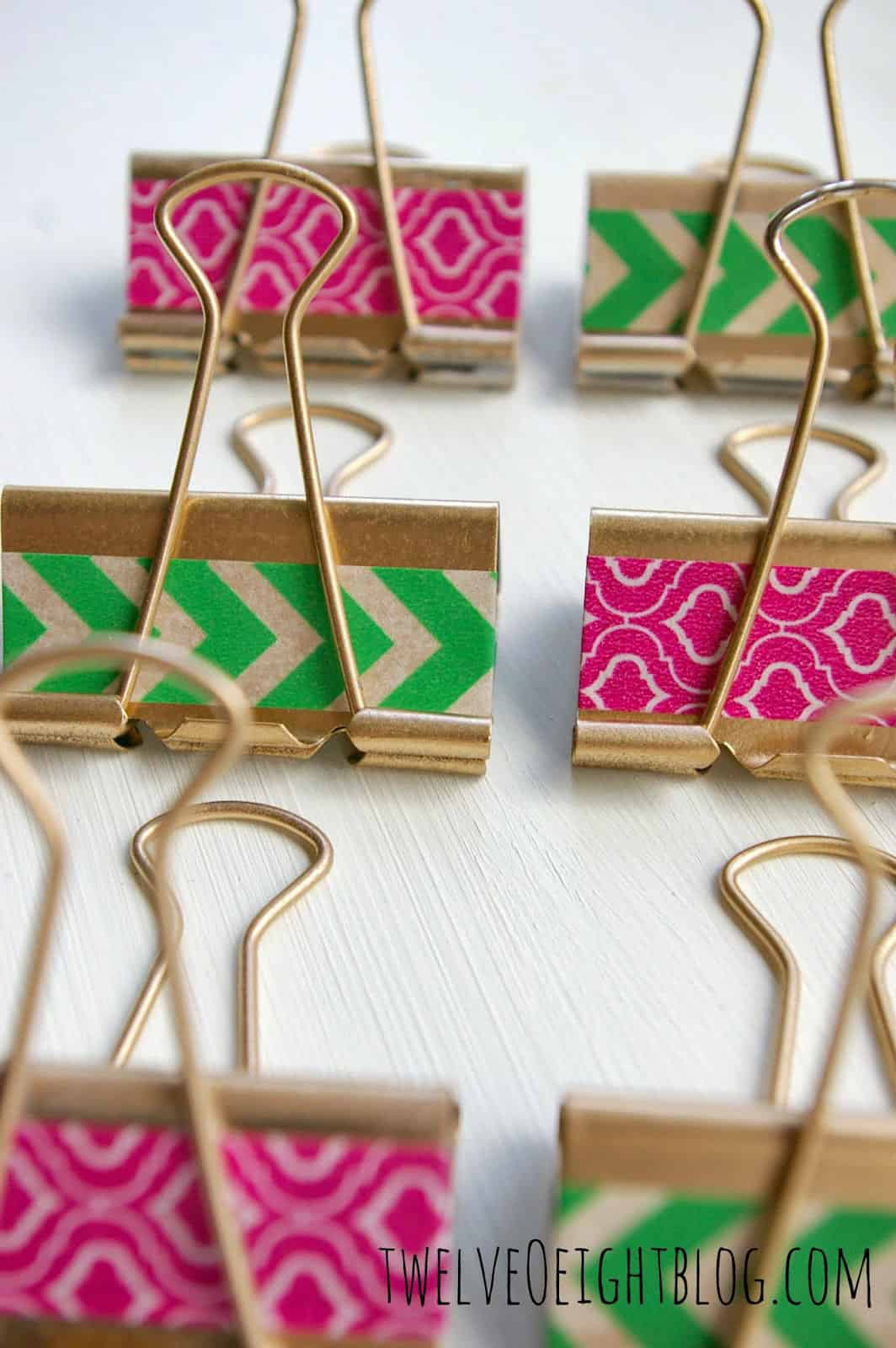 Gilded Washi {Dollar Store} Binder Clips