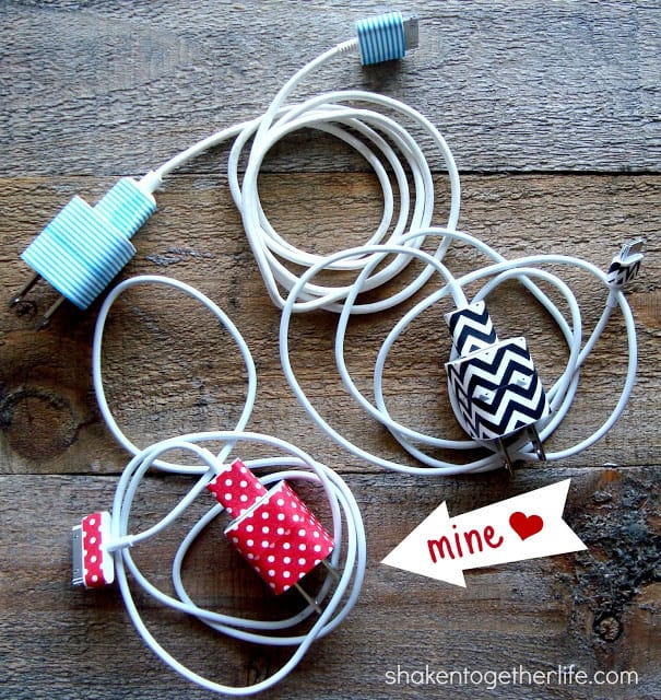 Organize your phone chargers with Washi tape