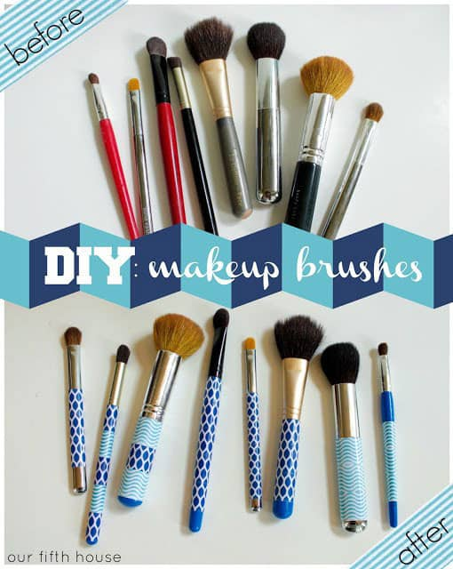 DIY Washi Tape Makeup Brushes