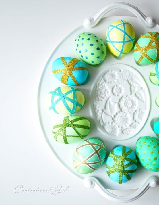 Washi Tape Relief Dyed Eggs