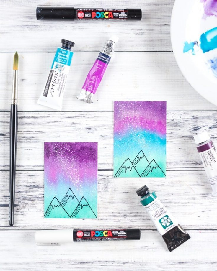 Mini Watercolor Galaxy Painting Tutorial - Watercolor Sky with Mountains