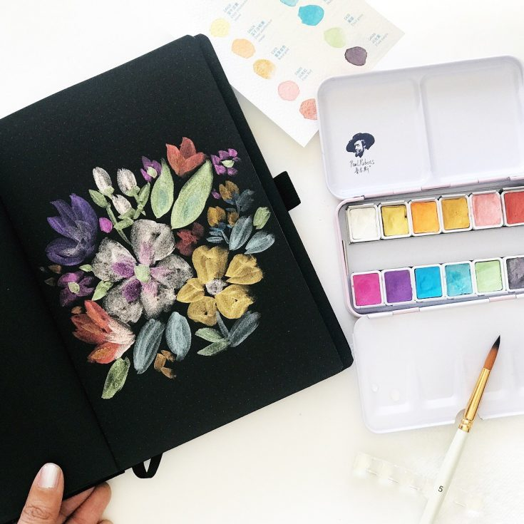 Watercolor Painting on Black Paper