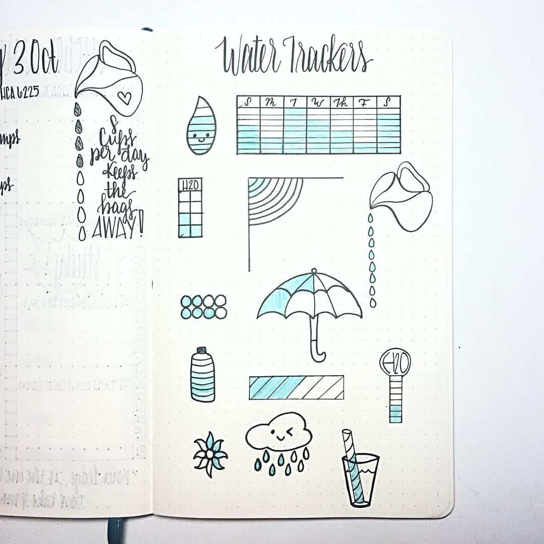 Track your water intake with your bullet journal