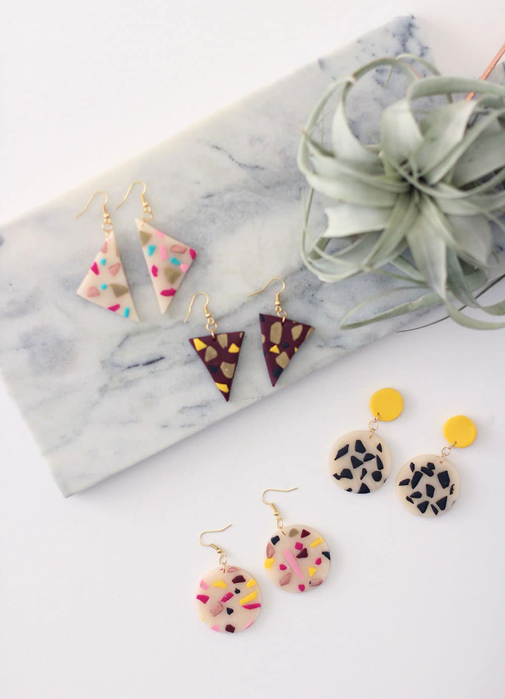 When you make your own terrazzo clay earrings you can make them any shape you like!