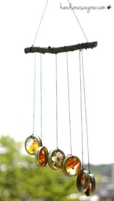 Mason jar wind chime craft