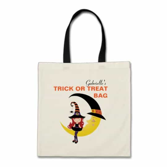 You can buy the Personalized Witch Halloween Trick or Treat Bag here