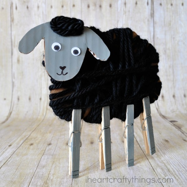 Yarn Wrapped Sheep Craft for Kids